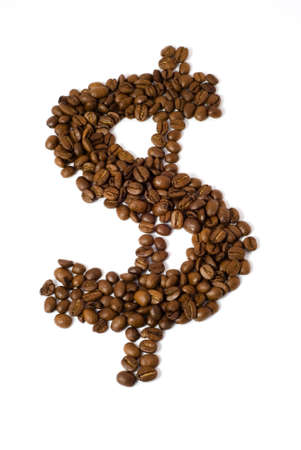 elevenses: Coffee beans in the shape of a dollar sign.  [Isolated on white background with clipping path.]