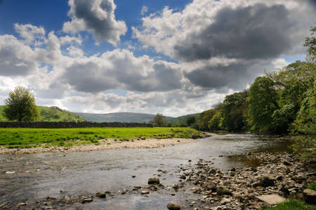 wharfedale: Quiet peaceful part of the Wharfedale near Burnsall, near Grassington, North Yorkshire, England, UK