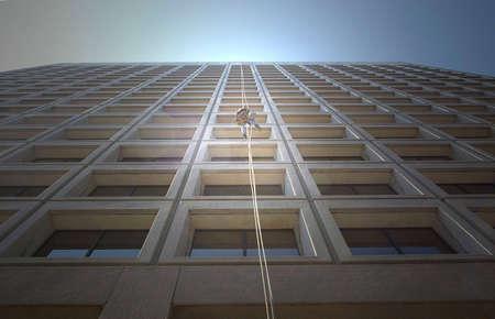 abseilen: Hochhaus-Fenster-Reiniger in Toronto, Kanada.