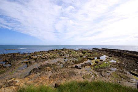 rock strata: Rocks revealed by receding tide under dramatic sky Stock Photo