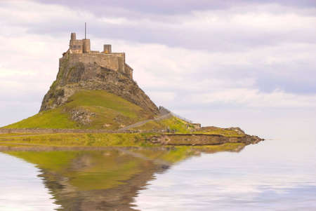 Lindisfarne Castle in Holy Island harbour