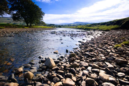 ure: The River Ure near Hawes, Yorkshire Dales National Park, United Kingdom on a summers day Stock Photo