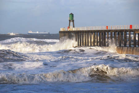 Stormy seas off Whitby, North Yorkshire, England, UK