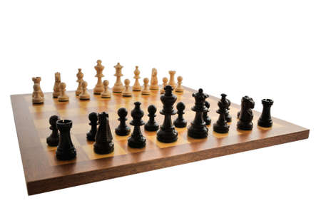 A chess board set up ready for a game photo