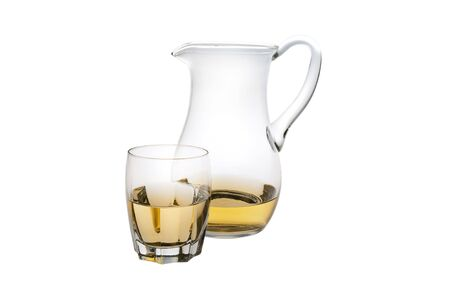 majolica: A Glass And Majolica of White Wine