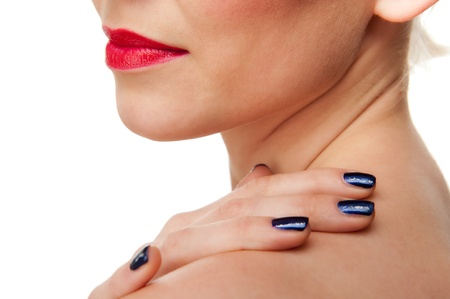 nack: Closeup of a Beautiful Red Female Lips and Blue Painted Fingernails Stock Photo