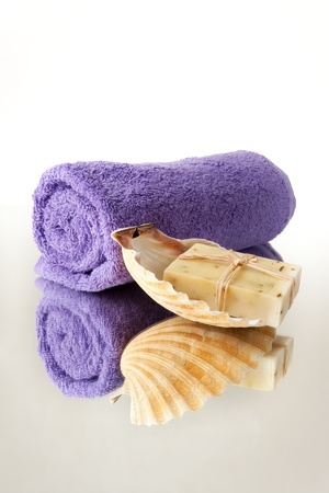 pebles: Towel and Raw Natural Soap in Seashell