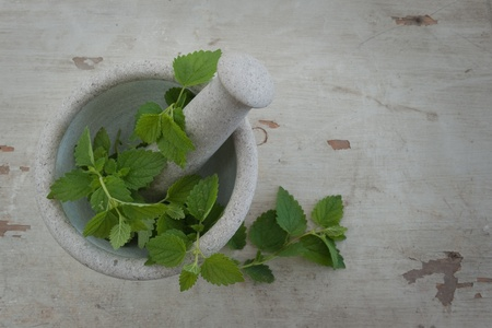Stone mortar with peppermint on a wooden board photo