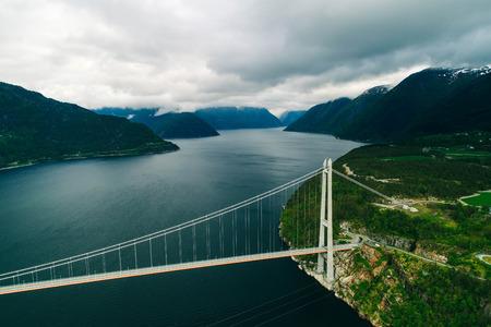 Aerial view of Riverside Bridge in Norway Editorial
