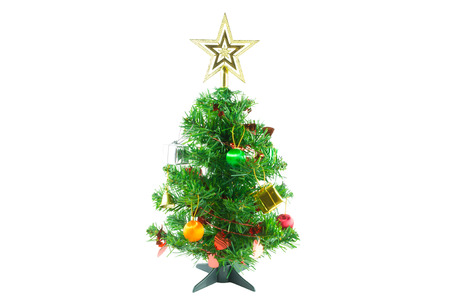 fake christmas tree: Christmas tree is ornamented with gold and silver gift box, heart red ribbon, orange and green Christmas ball, bell and gold star on white background