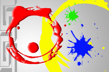 Abstract background including red and yellow circle green and blue dropped ink on gray background