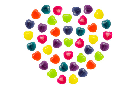Heart shape confectionery is set in full heart style on white background Stock Photo - 24933232