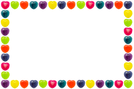 Heart shape confectionery is set as border or frame style on white background Stock Photo - 24933280