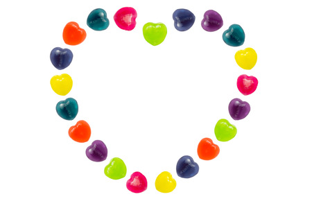 Heart shape confectionery is set in heart style on white background Stock Photo - 24933289