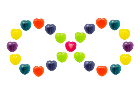 Heart shape confectionery is set in infinity style on white background Stock Photo - 24933292