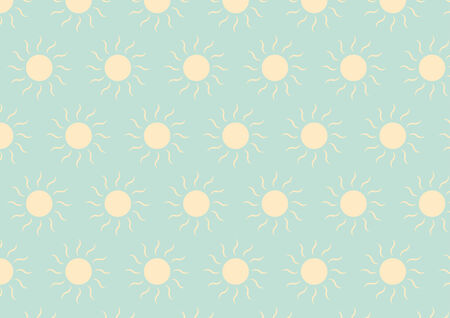 Soft yellow sun on soft green color in pastel style Illustration