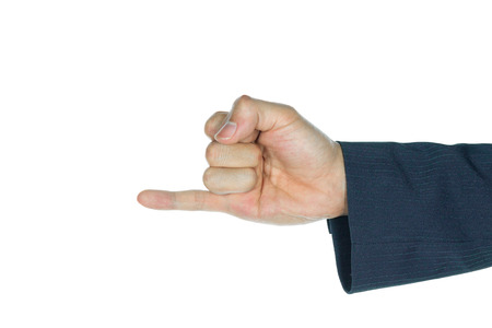 dedo me�ique: Pinkie o dedo me�ique de negocios en fondo blanco. Hacer amigos de nuevo el dedo signo. El lenguaje de signos de hombre de negocios.