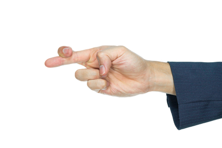 disloyal: Businessman show crossed fingers on white background. Lying or dishonest in company or organization.