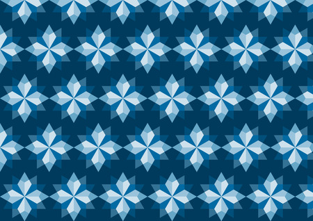feature: Modern rhomboid or star pattern in abstract feature on blue color. Graphic tile pattern in classic style.