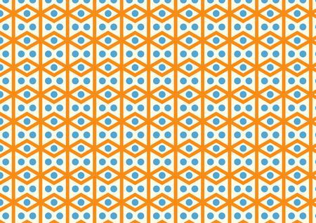parallelogram: Rhombohedron or parallelogram pattern on pastel color. Retro orange rhomboid and blue circle style for design. Illustration