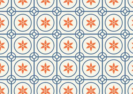 Orange flower, dark blue circle and hexagon pattern on pastel color Vector