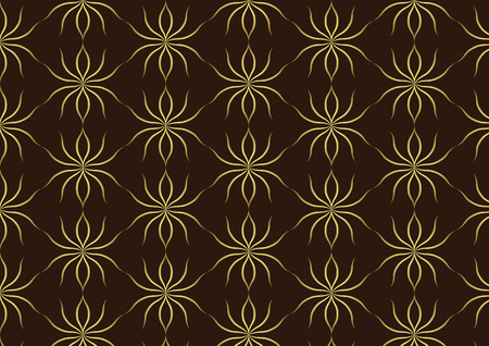 Gold ant line art pattern on dark brown background. Retro luxurious style. Vector