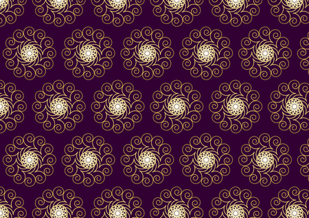 lofty: Luxurious bloom and star and spiral pattern on purple color background. Lofty swirl style.