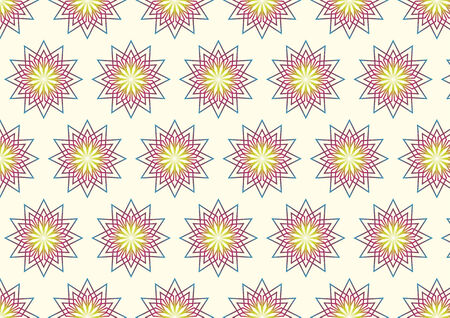 feature: Modern flower and rhomboid pattern in abstract color such as light yellow, purple, blue on pastel color. Abstract and vintage flower pattern feature.