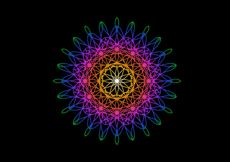 Blossom in rainbow color on spirograph style. Abstract bloom background for design. Vector