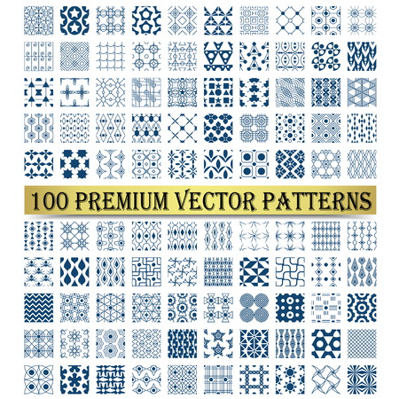 One hundred shape for cute, classic, retro or vintage design. Vector pattern such as star, line, rectangle, triangle, rhomboid, net, leaf, circle, flower, spiral, curve. Vector