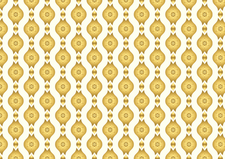lobe: Gold Vintage blossom and leaves and lobe pattern on light yellow background. Classic bloom seamless pattern style for old design or ancient work