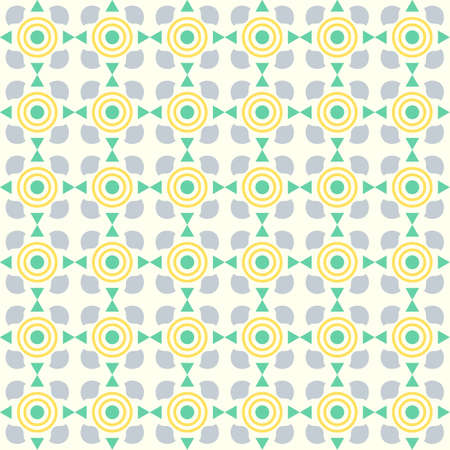 Green sweet circle and curve cup and small triangle pattern on pastel color. Abstract and vintage seamless pattern style for cute or modern design Vector