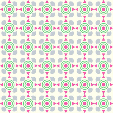 Pink sweet circle and curve cup and small triangle pattern on pastel color. Abstract and vintage seamless pattern style for cute or modern design Vector