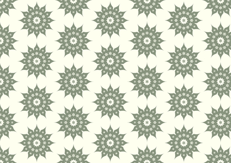 Classic blossom and modern bloom shape on light yellow background. Vintage and old flower seamless pattern style for design Vector