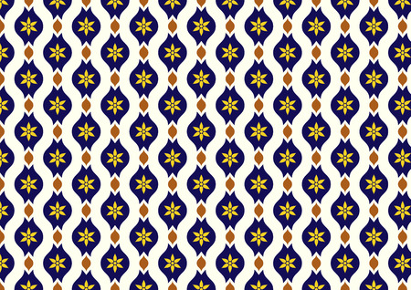lobe: Dark blue vintage blossom and leaves and lobe pattern on light yellow background. Classic bloom seamless pattern style for old design or ancient work