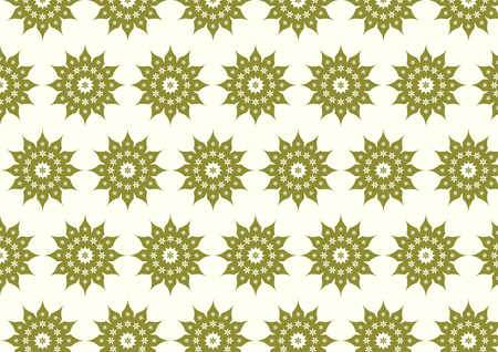 Dark green classic blossom and modern bloom shape on pastel background. Vintage and old flower pattern style for retro design Vector