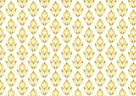 Gold vintage and old age blossom and leaves pattern on pastel background. Classic bloom and leaves seamless pattern style for old design