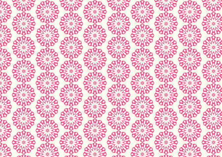 bloom: Pink Vintage blossom and modern shape pattern on pastel background. Classic bloom pattern style for design