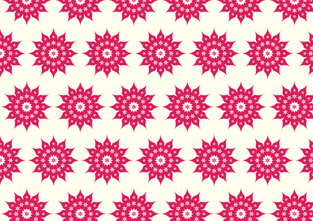 Red classic blossom and modern bloom shape on pastel background. Vintage and old flower pattern style for retro design Vector