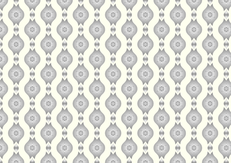 lobe: Silver Vintage blossom and leaves and lobe pattern on light yellow background. Classic bloom seamless pattern style for old design or ancient work Illustration