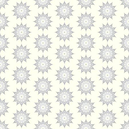Silver classic blossom and modern bloom shape on pastel background. Vintage and old flower seamless pattern style for retro design Vector