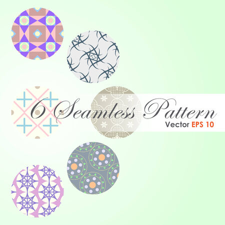 6 in 1 Modern and classic and spirograph pattern for abstract or retro design. Flower and plus sign and circle and curve line and triangle shape Vector