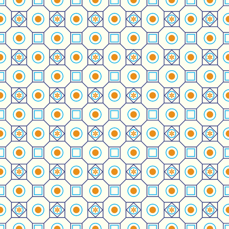 modish: Blue classic blossom and square and circle seamless pattern on pastel background. Vintage and classic bloom pattern for retro and old design. Illustration