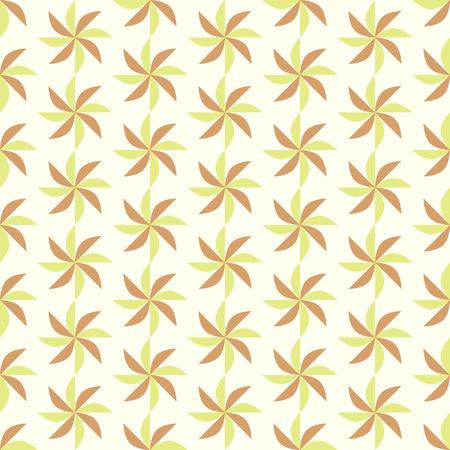 vane: Brown and Green propeller pattern on pastel color. Vane seamless pattern for modern or retro design