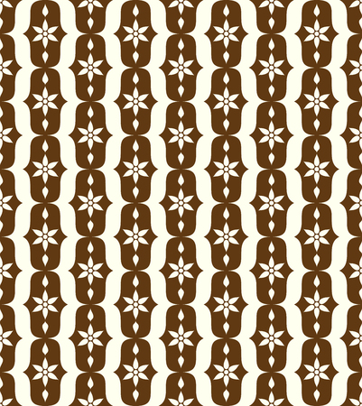 lobe: Brown vintage blossom and lobe pattern on pastel background. Retro bloom seamless pattern for ancient or old design