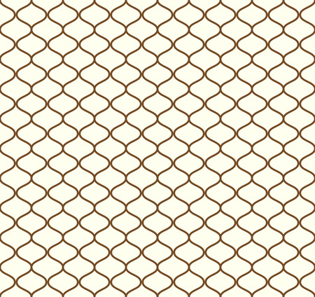 Brown Sweet mesh seamless pattern on pastel background. Vintage net pattern for retro and graphic design. Illustration