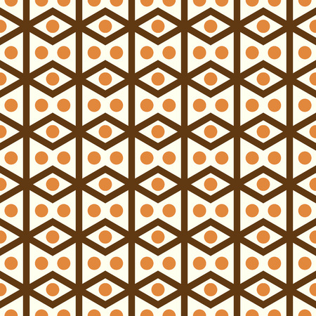 parallelogram: Brown rhombohedron or parallelogram pattern on pastel background. Retro rhomboid and circle seamless pattern style for classic or modern design Illustration