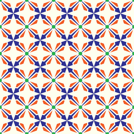 modish: Dark blue and orange abstract arrow and circle in rectangle shape seamless pattern. Modern pattern for graphic or abstract design.
