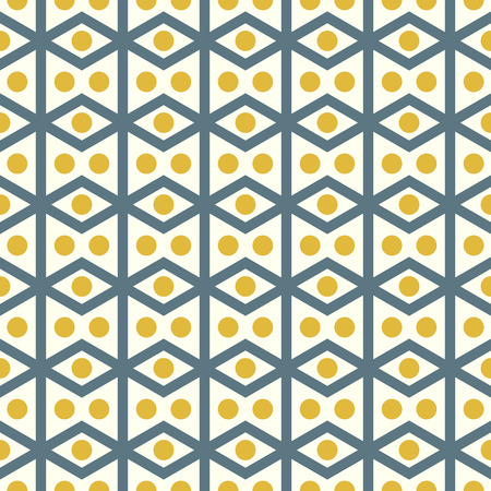 parallelogram: Dark blue rhombohedron or parallelogram pattern on pastel background. Retro rhomboid and circle seamless pattern style for classic or modern design