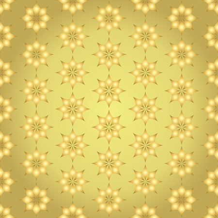 modish: Gold modern classic bloom seamless pattern. Abstract blossom style for graphic and retro design. Illustration